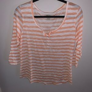 Peach and white striped lucky brand top